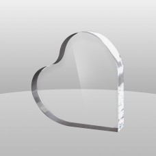 Clear heart paperweight.